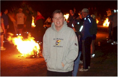John keeping warm before the St. George Marathon.