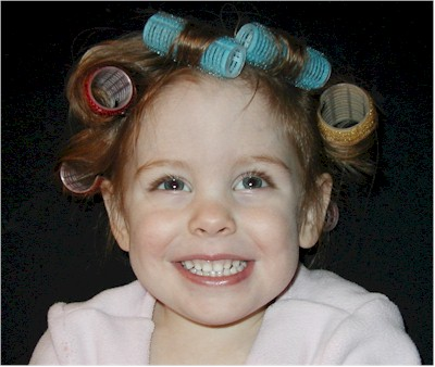 Emma in curlers